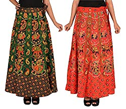 PMS Cotton Multi Color Wrap Around Woman's Skirts Combo Pack Of 2 (Assorted Design & Assorted Color)