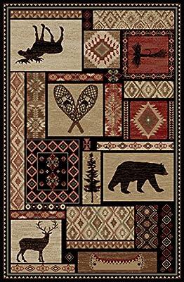 Rustic Lodge Bear Moose Deer Panel Red Area Rug, 6913