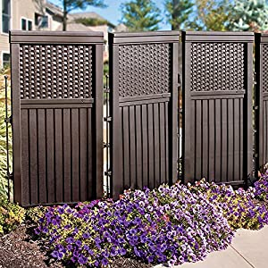 Woven resin privacy screen brown panel for Plastic garden screening panels