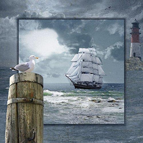 Verre - Image Artland Tableau mural Paysages Côte Mausopardia: Maritime Collage avec Voilier en Différentes Dimensions - 20x20 cm / l'image verre