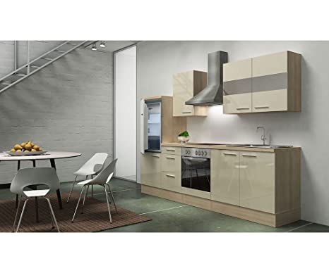 Respekta KB150WGMI Kitchen Unit 270 cm Acacia/Empty Replica Vanilla High-Gloss