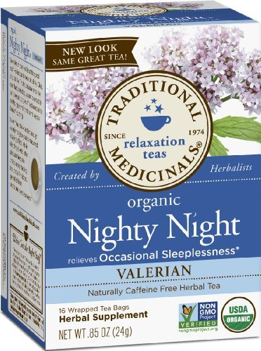 Traditional Medicinals, Nighty Night Valerian, Herbal Tea, 16 Wrapped Tea Bags Per Box, 0.85 Ounce Home Grocery Product