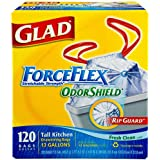 Glad ForceFlex Tall Kitchen 13 Gallon Trash Bag With Odor Shield - 120-Count