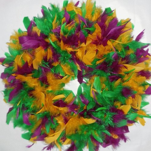 Feather Wreath - Christmas Wreath - Mardi Gras Wreath