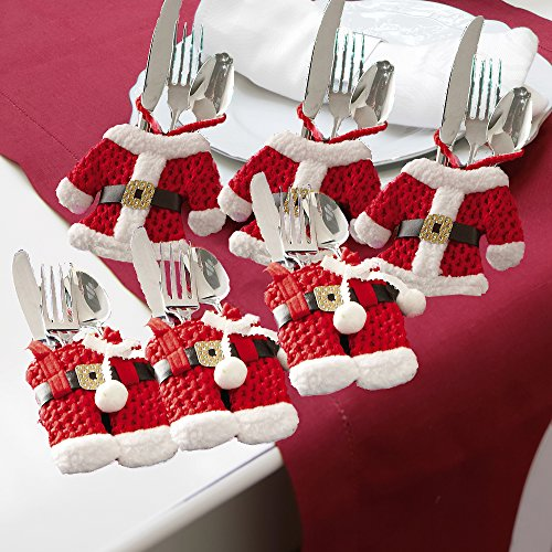 6 Pc. Santa Suit Christmas Silverware Holders