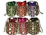#2: Indian Women Designer Clutch Potli Bag, Make Up Bag, Hand Bag MultiColor Set of 6 Pcs