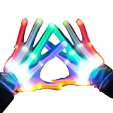 BESTTY LED Gloves Party Light Show Skeleton Halloween Gloves Pair of 1 MultiColor LED Glove for Clubs.Lightshow Dancing Gloves for Clubbing, Halloween, Rave, Birthday, EDM, Disco, and Party