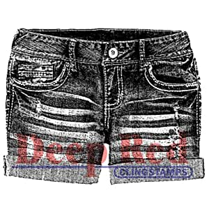 Deep Red Stamps Denim Shorts Rubber Stamp
