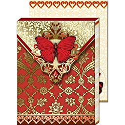 Punch Studio Red Butterfly Paisley Magnetic Closure Mini Notepad