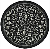 "Safavieh Courtyard Collection CY2098-3908 Black and Sand Round Area Rug, 5 feet 3 inches in Diameter (5'3"" Diameter)"