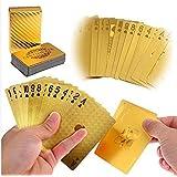 Aketek LLF Luxury 24K Gold Foil Poker Playing Cards Deck Carta de Baralho with Box Good (Color: Gold)