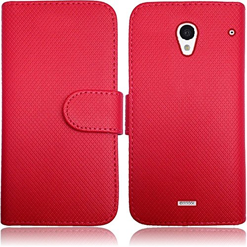 Chili Red Flip Premium Case Cover Protector Credit Card Holder Wallet with Magnetic Closure for Sharp Aquos Crystal (by Boost Mobile , Virgin Mobile , Sprint) with Free Gift Reliable Accessory Pen (Aquos Sharp Boost Mobile Phone compare prices)