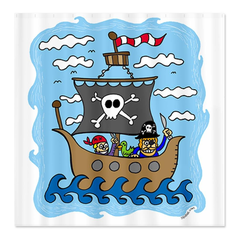 Ship shower curtains pirate images and cute pirate shower curtains
