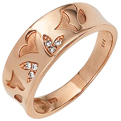 Jobo Women's Ring Partially Matte 585 Gold Pink Gold 6 Diamond 0.05 ct.