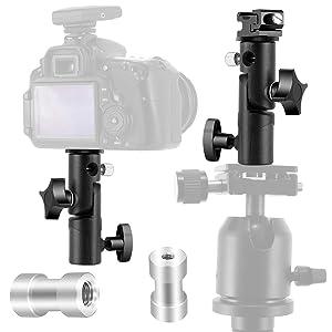 Camera Flash Speedlite Mount, Professional Camera Swivel Light Stand Bracket Umbrella Holder Shoe Mount for Canon Nikon Pentax Olympus and Flashes, Studio Light, LED Light E Type (2 Pack) (Color: 2 Pack)