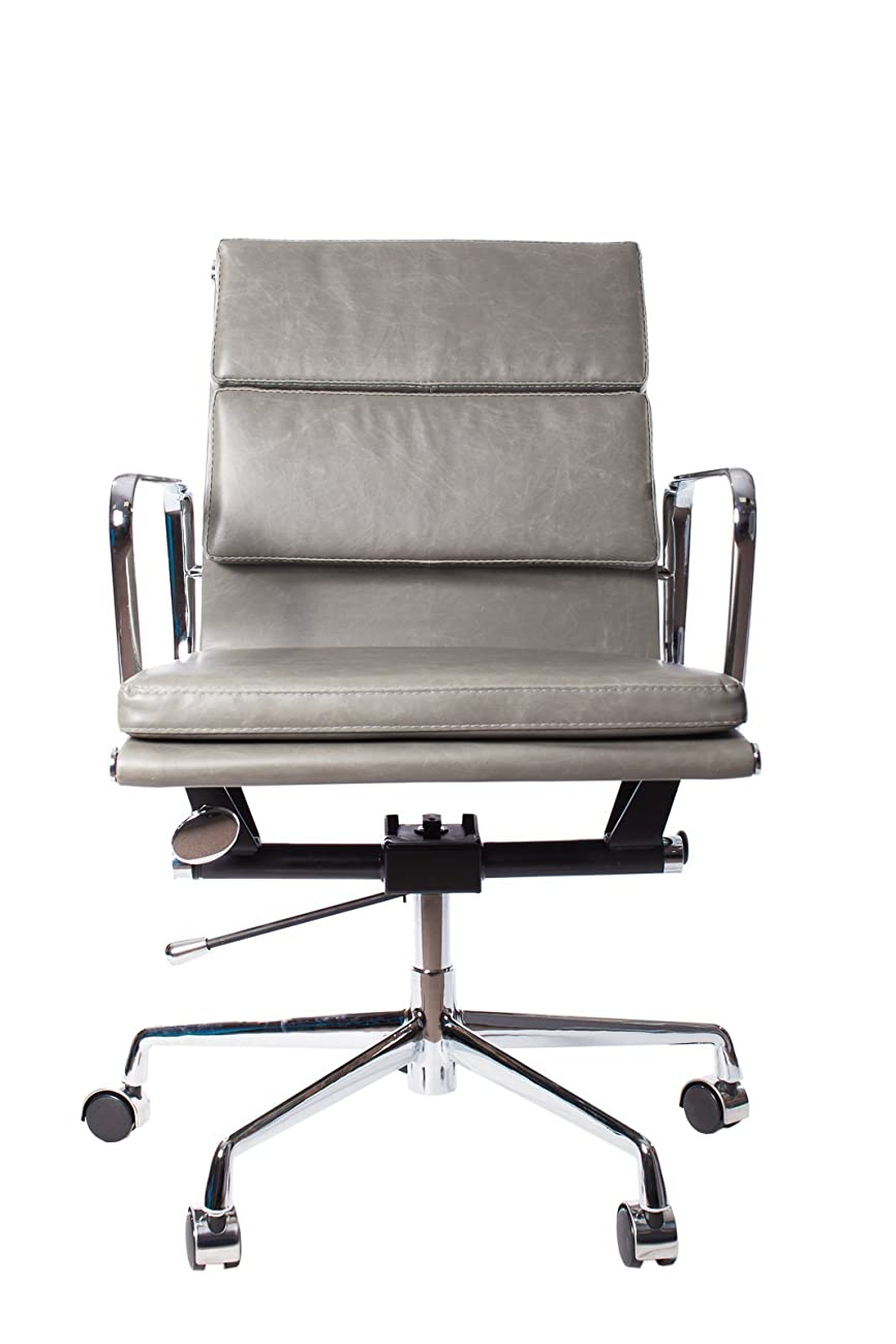 Vintage Grey Premier Leather Soft Pad Executive Management Office Replica Chair Swivel and Polished Aluminium Frame - Low Back 1