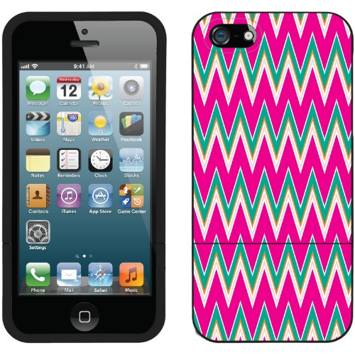 Great Sale Pink and Green Chevron design on a Black iPhone 5s / 5 Slider Case by Coveroo