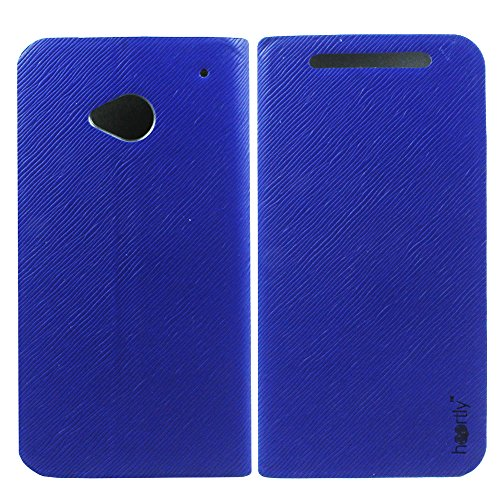Premium Luxury PU Leather Flip Stand Back Case Cover For HTC One Dual Sim 802D 802T 802W - Blue