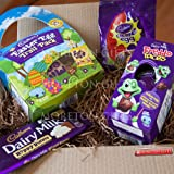 Cadbury Easter Egg Hunt and Trail Box - Easter Egg Trail Pack, Dairy Milk Hoppy Bunny Bar, Crème Egg Mini Bag & Freddo Faces Easter Egg - By Moreton Gifts