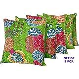 "Marudhara Cushion Cover Kantha Set Of Five - 16"" X 16"""