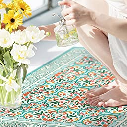 NEW Oriental Mats Tile Rug Carpet PVC Vinyl Floor Door Cleanable For Bedroom, Kitchen, Salon and Living Room, Home Decoration, Tiva Design 252 (120X72cm)