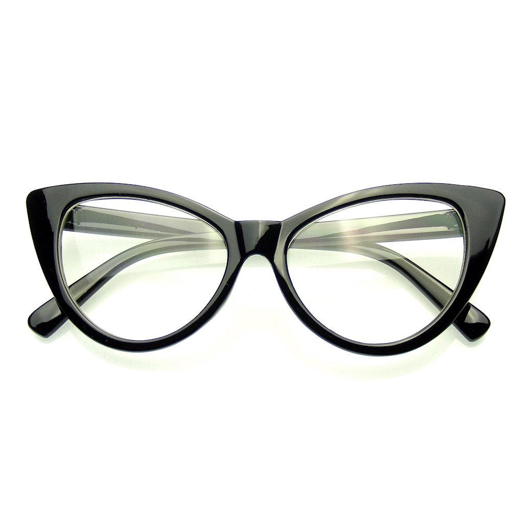 Emblem Eyewear - Super Cat Eye Glasses Vintage Fashion Mod Clear Lens Eyewear 0