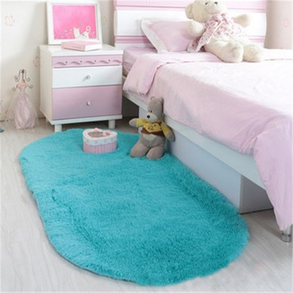 Noahas Ultra Soft 4.5cm Velvet Bedroom Rugs Kids Room Carpet Modern Shaggy Area Rugs Home Decor 2.6 X 5.3, Blue