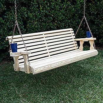 Amish Heavy Duty 800 Lb Roll Back Treated Porch Swing With Hanging Chains And Cupholders (4 Foot, Unfinished)