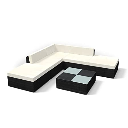 Rattan Gartenmöbel Lounge Set - Gemutliche 6-teilige Sitzgruppe fur Balkon, Polyrattan Gartengarnitur inkl. Tisch und Hocker (Schwarz)