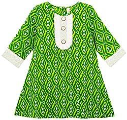 Oye Girls 3/4th Sleeve A-Line Dress - Green/Fresh Green Blue (1-2 y)