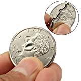 Dzsntsmgs Magic Street Trick Bitten Coin Disappear Magician Restored Half Dollar Illusion - Silver (Color: Silver)