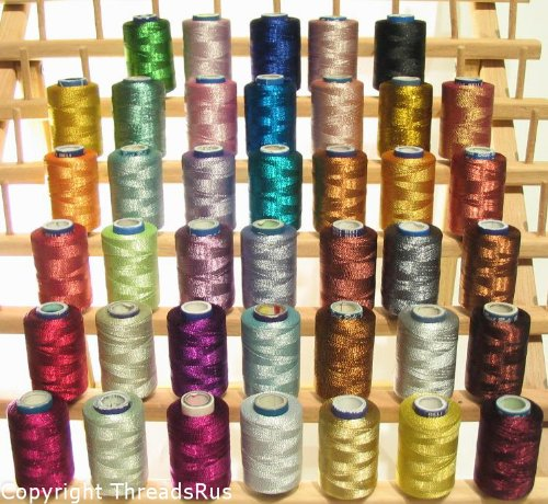 NEW THREADSRUS 40 Spools of SPARKLE Metallic Embroidery Threads for Machine Embroidery - 100% Polyester