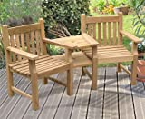 Turner Teak Garden Love Seat - Tete a Tete 2 Seater Companion Seat - Jati Brand, Quality & Value