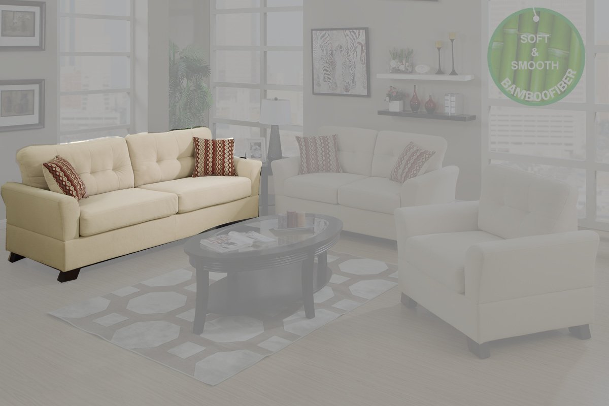 Contemporary Style Sofa Upholstered in Sand Colored Fabric by Poundex