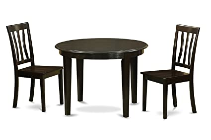 East West Furniture BOAN3-CAP-W 3-Piece Kitchen Nook Dining Table Set, Cappuccino Finish