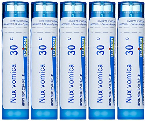 Boiron Homeopathic Medicine Nux Vomica, 30C Pellets, 80-Count Tubes (Pack of 5)