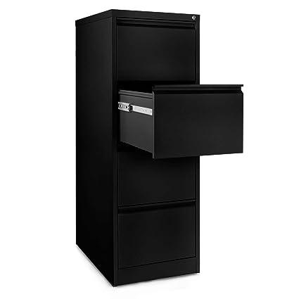 Office alguacil 4 cajones ficheros, acero - negro (46 x 60 x 131 cm) | Con cerradura carpeta sistema de suspensión, de oficina con