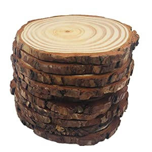 YIHANGBEST 15pcs 3.5-4 inch Natural Wood Slices with Bark for Crafts,No Drilling Excellent for Tree Centerpieces for Weddings,etc