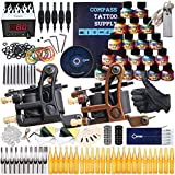 Dragonhawk Complete Tattoo Kit 2 Mate Machines Gun 20 Color Immortal Inks Power Supply Needles