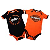 Harley-Davidson® Boy's Creeper. My Daddy Rides a Harley. 2-Pack. 3/6M, Orange/Black (Color: Orange, Tamaño: 3-6 Months)