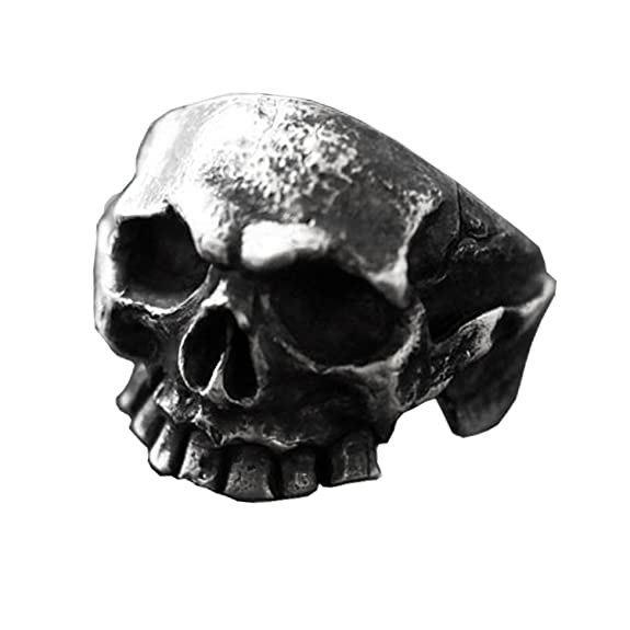 Skull Biker Silver Ring Handmade Skeleton Ring Oxidised Head Skeleton Ring Mens Gothic Skull Ring