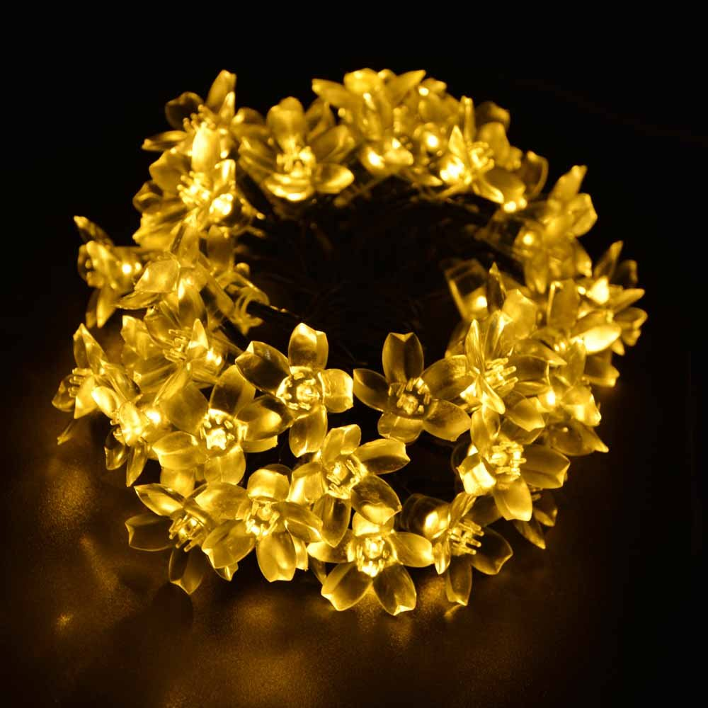 Solar Christmas Flower Fairy String Lights 21ft 50 LED Blossom Decorative Light for Garden, Patio, Tree, Wedding, Party, Bedroom, Holiday, Xmas Decorations, Indoor and Outdoor (Warm White)