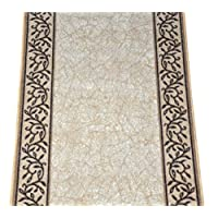 Dean Custom Length Washable Carpet Rug Runner - Garden Path Beige - Sold by the Linear Foot