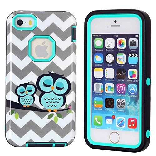 iPhone 5S Case,iPhone SE Case,Cafeleo 3 in 1 Ultra Slim Tough Rugged Bumper Cover Shockproof High Impact Soft TPU Hard PC Back with Heavy Duty Armor Combo Defender for Apple iPhone 5 5S SE (Iphone 5s Case Protective Owl compare prices)