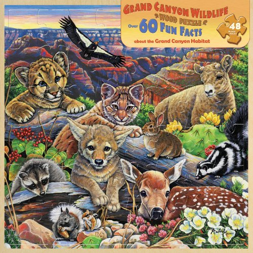 Masterpieces / Fun Facts 48-Piece Wood Puzzle, Grand Canyon Wildlife front-925784