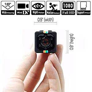Hidden Spy Camera 1080P Mini Security Wireless cam with Night Vision, Video Recorder for Nanny/Housekeeper, Sports Action Cam with Motion Detection for Home, Car, Drone, Office and Outdoor Use (Color: black)