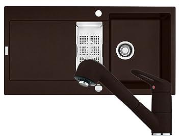 franke maris mrg 651 chocolate granit sp le armatur 740 braun festauslauf set dc618. Black Bedroom Furniture Sets. Home Design Ideas