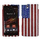 Fincibo (TM) Sony Xperia Z Ultra Togari C6802 C6806 C6833 Bling Crystal Full Rhinestones Diamond Case Protector - United States Flag