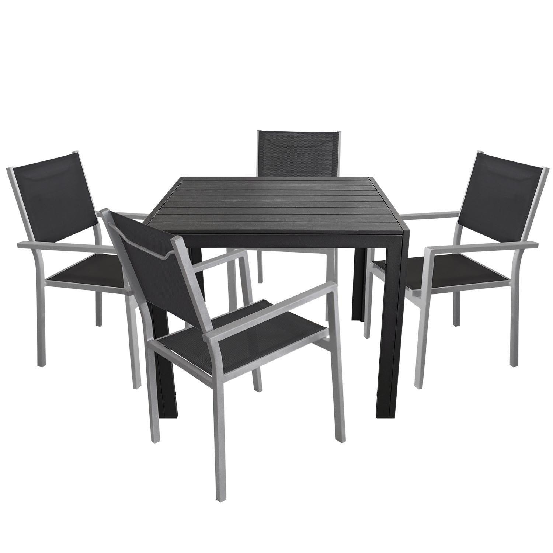 5tlg. Gartengarnitur - Aluminium Gartentisch mit Polywood Tischplatte 90x90cm + 4x Aluminium Stapelstuhl mit hochwertiger 4x4 Textilenbespannung - Sitzgarnitur Sitzgruppe Gartenmöbel Terrassenmöbel Balkonmöbel Set