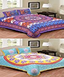 Bedding King Multicolor 100% Cotton Double Bedsheets combo with 4 Pillow Covers
